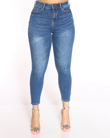 Women's Alicia Push Up High Rise Jean - Dark Blue-VIM.COM