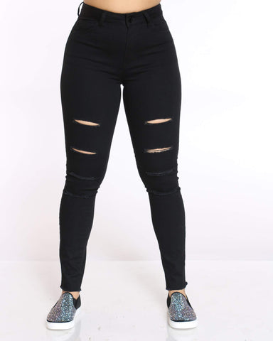 Women's Vernia High Waist Slit Ripped Jean - Black
