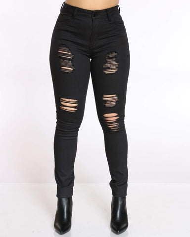 Women's Lisa High Waist Ripped Jean - Black