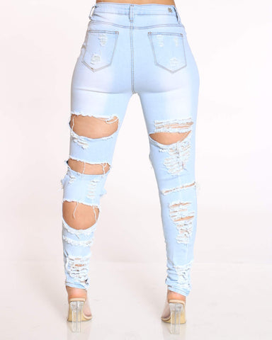 Women's Vickiana Ripped Front & Back Jean - Ice Blue
