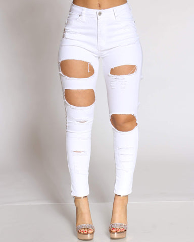 Women's Vickiana Ripped Front & Back Jean - White