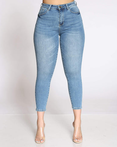 Women's Alicia Push Up High Rise Jean- Medium Blue-VIM.COM