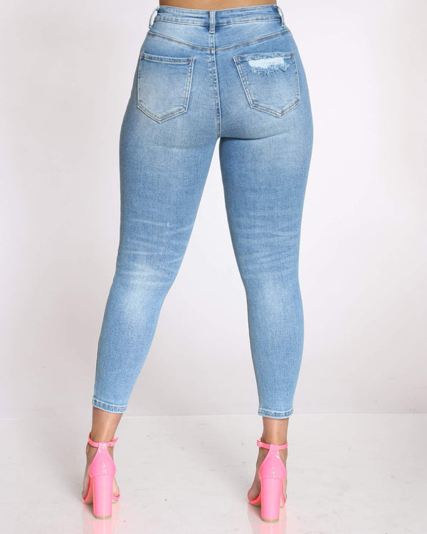 Women's Ivie Heavy Ripped High Waist Jean - Light Blue