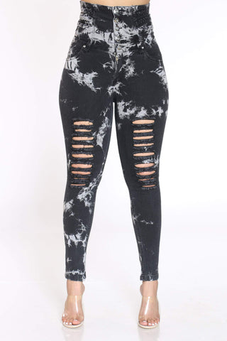 Women's Tie Dye Ripped Jean - Black