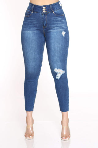 Women's Mickie 3 Button Ripped Jean - Dark Blue-VIM.COM