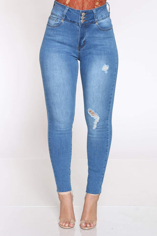 Women's Mickie 3 Button Ripped Jean - Light Blue-VIM.COM