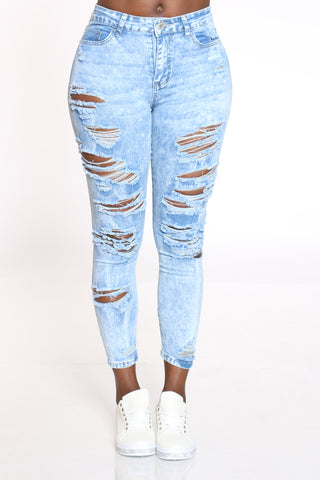 Women's Heavy Ripped Front & Back Jean - Acid-VIM.COM