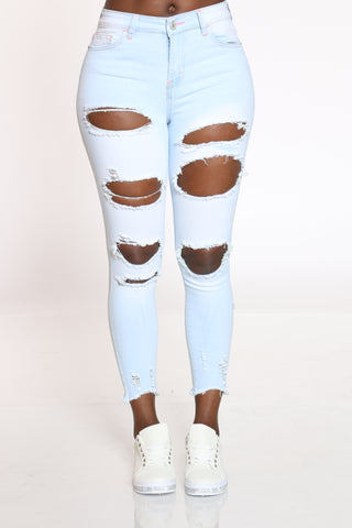 Women's Heavy Ripped Fray Hem Jean - Light Blue-VIM.COM