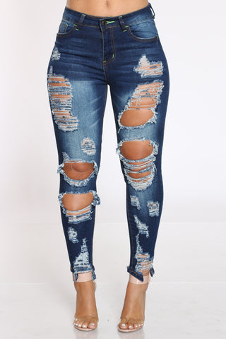 Women's Heavy Ripped Dog Bite Jean - Dark Blue-VIM.COM