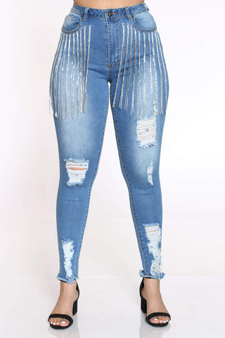 Women's Naija Rhinestone Fringe Ripped Jean - Medium Blue