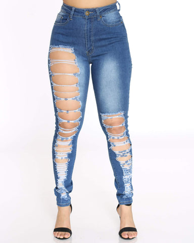 Women's Heavy Front & Back Ripped Jean - Medium Blue