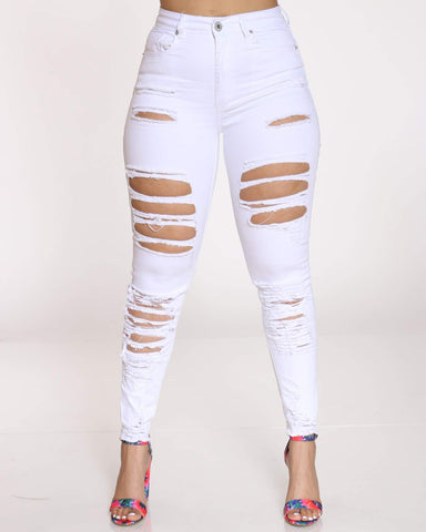 Women's Elvia Heavy Front & Back Ripped Jean - White-VIM.COM