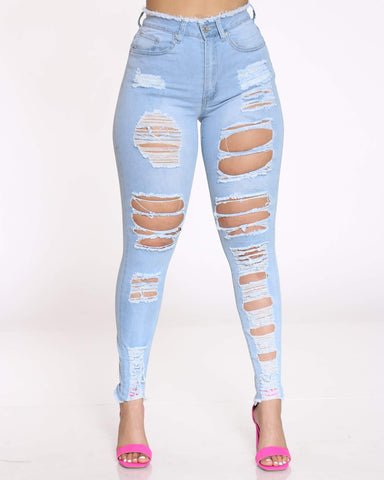 Women's Saylor Heavy Ripped Jean - Light Blue-VIM.COM