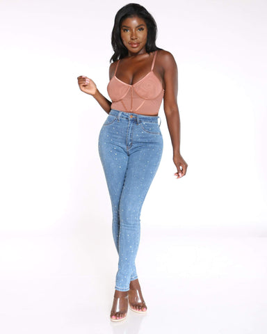 Women's Kandi Rhinestone High Waist Jean - Blue