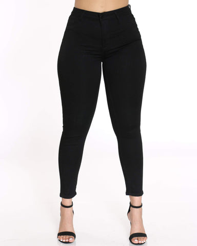 Women's High waist Push Up Jean - Black-VIM.COM