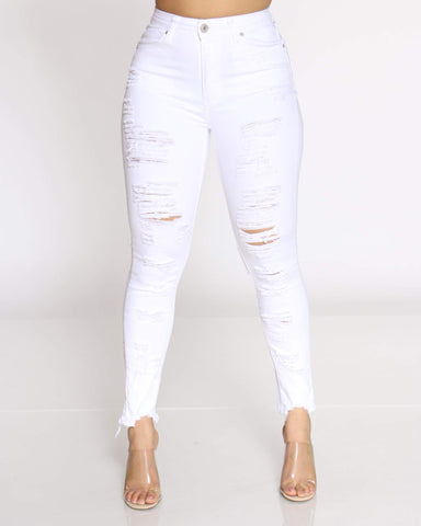 Women's Dayse Heavy Ripped Back & Front Jean - White
