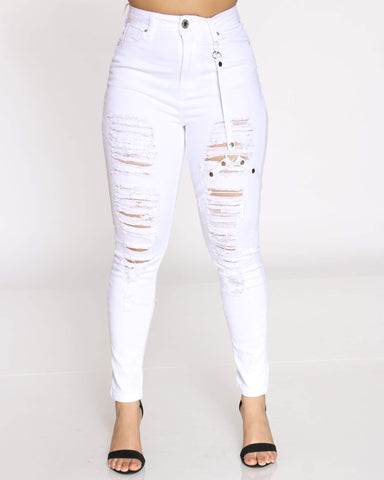 Women's Veronica High Waist Ripped Side Keychain Strap Jean - White-VIM.COM