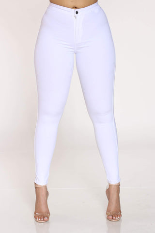 Women's Heather Hyper Stretch High Waist Jean - White