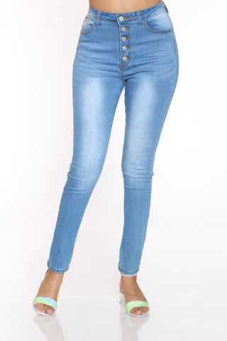 Women's 5 Button High Waist Skinny Jean - Medium Blue-VIM.COM