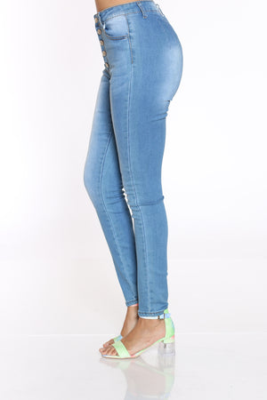 Women's 5 Button High Waist Skinny Jean - Medium Blue