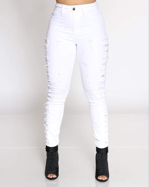 Women's Parle Heavy Side Ripped Jean - White