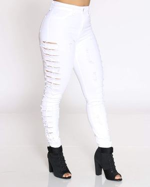 Women's Parle Heavy Side Ripped Jean - White-VIM.COM