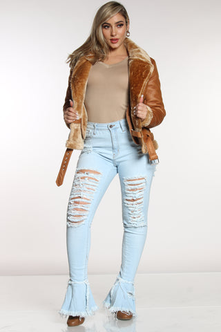 Women's Heavy Ripped Bell Bottom Jean - Light Blue-VIM.COM