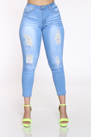 Women's Ripped High Waist Jean - Light Blue