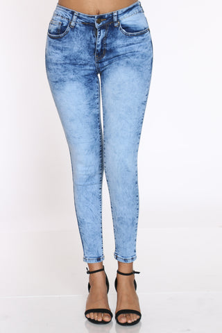 Women's Acid High Waist Jean - Medium Blue-VIM.COM