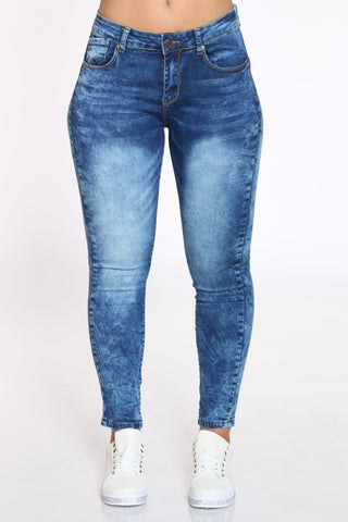 Women's Acid High Waist Skinny Jean - Dark Blue-VIM.COM
