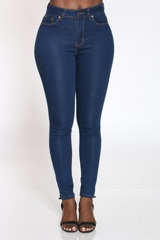 Women's Highwaist Skinny Jean - Dark Blue-VIM.COM