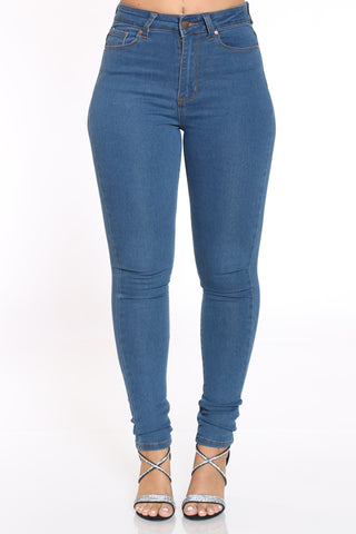 Women's Highwaist Skinny Jean - Medium Blue-VIM.COM