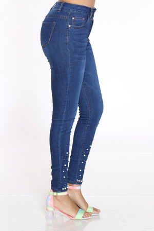 Women's Pearl Trim High Waist Jean - Dark Blue