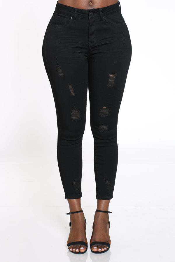 Women's Ripped High Rise Skinny Jean - Black-VIM.COM
