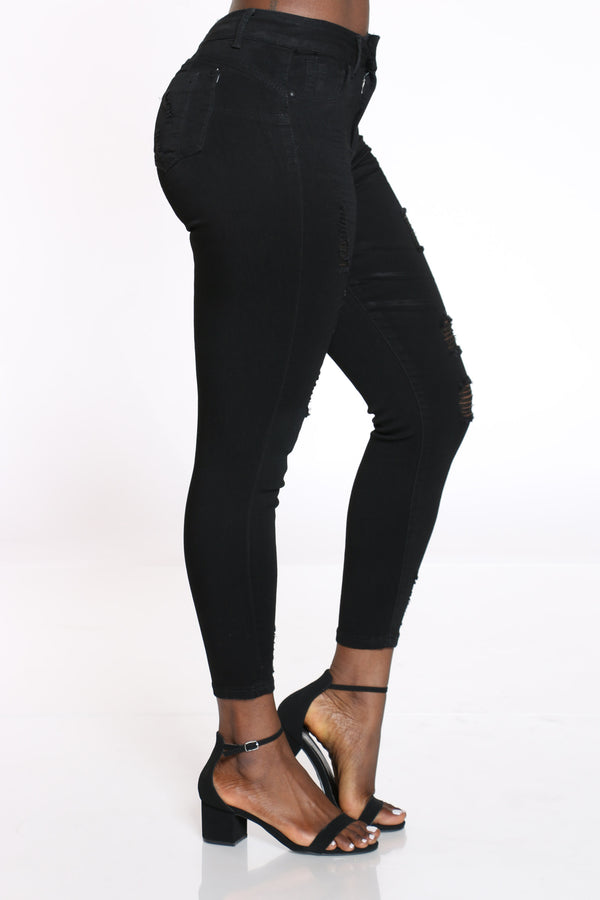 Women's Ripped High Rise Skinny Jean - Black
