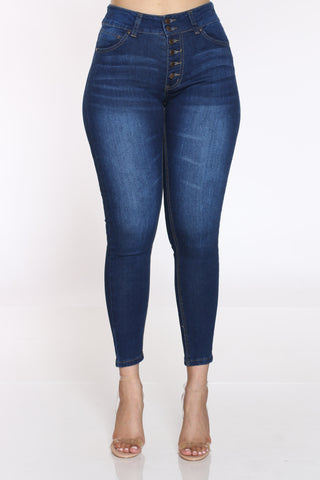 Women's 6 Button Highrise Jean - Dark Blue-VIM.COM