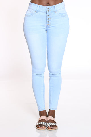 Women's 6 Button Highrise Jean - Light Blue-VIM.COM