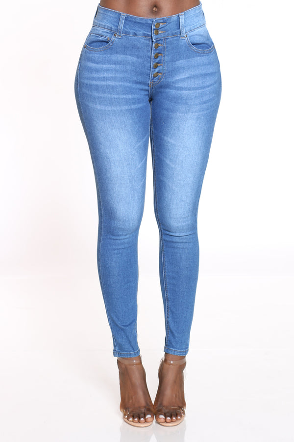 Women's 6 Button Highrise Skinny Jean - Medium Blue-VIM.COM