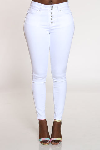 Women's 6 Button Highrise Skinny Jean - White-VIM.COM