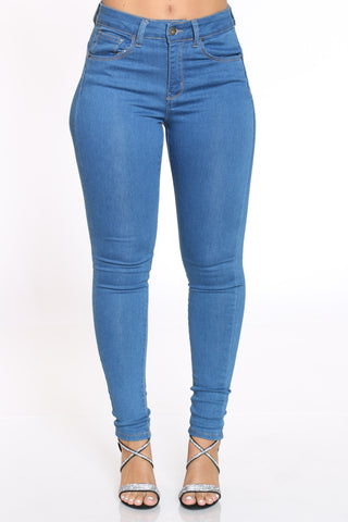 Women's High Rise Skinny Jean - Medium Blue-VIM.COM