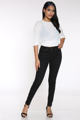 Women's High Rise Skinny Jean - Black-VIM.COM