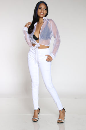 Women's High Rise Skinny Jean - White-VIM.COM