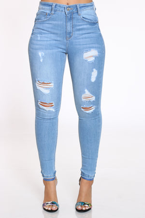 Women's Ripped High Rise Skinny Jean - Light Blue-VIM.COM