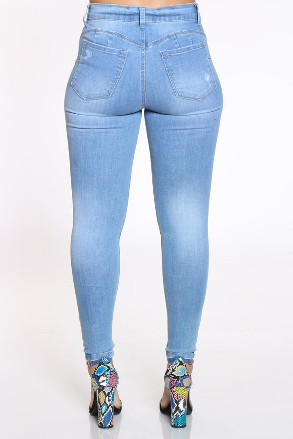 Women's Ripped High Rise Skinny Jean - Light Blue