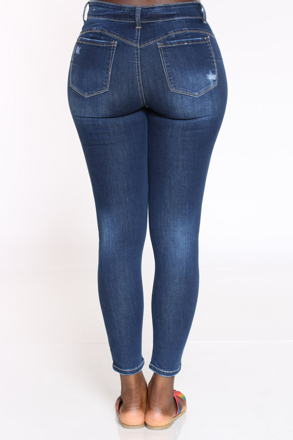 Women's Ripped High Rise Skinny Jean - Dark Blue