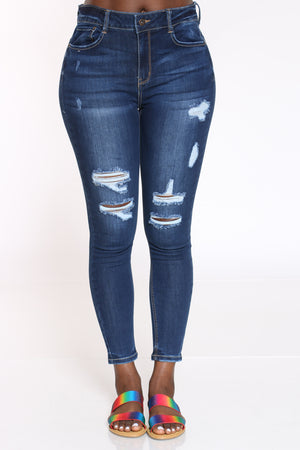 Women's Ripped High Rise Skinny Jean - Dark Blue-VIM.COM