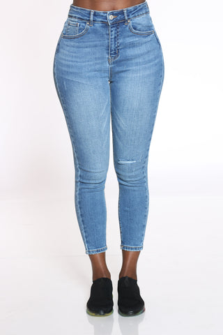 Women's Knee Ripped Skinny Jean - Medium Blue-VIM.COM