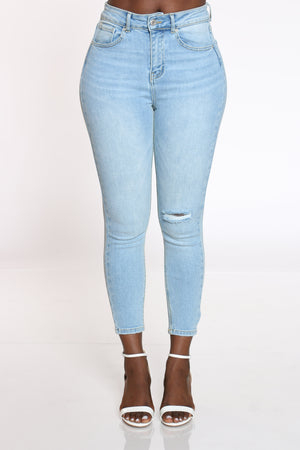Women's Knee Ripped Jean - Light Blue-VIM.COM