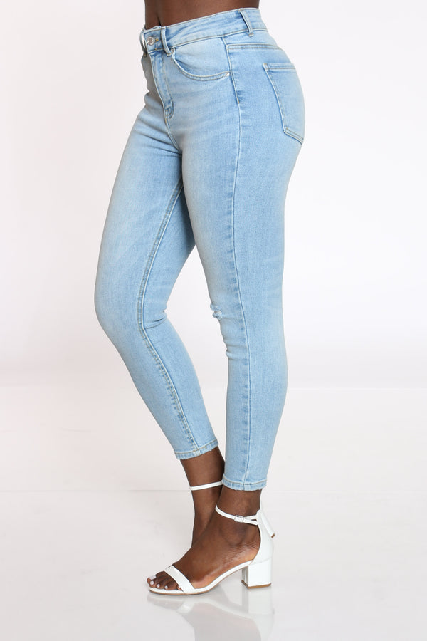 Women's Knee Ripped Jean - Light Blue