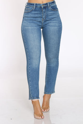 Women's Slim Straight High Rise Jean - Medium Blue-VIM.COM